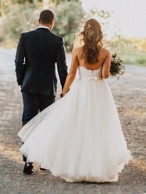 Elegante Hochzeitskleider Spitze und Schlicht Etuikleider Tüll Brautkleider_2