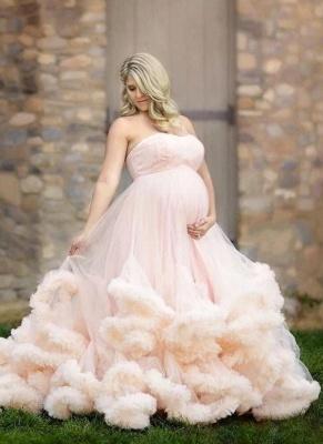 Günstige Brautkleider für Mollige Rosa Tüll Hochzeitskleid für Schwangere_1