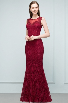 Wine red evening dresses long cheap lace mermaid evening wear for sale_5