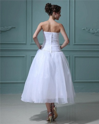White Wedding Dresses Short A Line Organza Wedding Dresses Cheap_4
