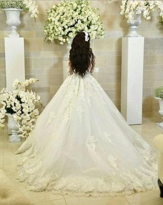 Luxury Weiße Brautkleider Mit Ärmel A-Linie Hochzeitskleider Günstig Organza_4