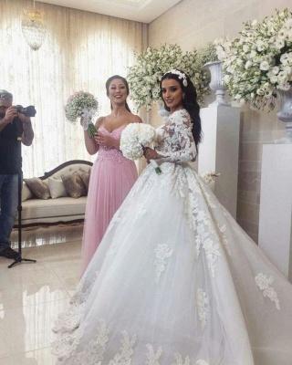 Luxury Weiße Brautkleider Mit Ärmel A-Linie Hochzeitskleider Günstig Organza_3
