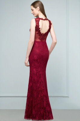 Wine red evening dresses long cheap lace mermaid evening wear for sale_4