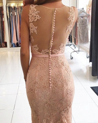 Pink Evening Dresses Long Lace Straps Mermaid Evening Wear Party Dresses Online_3