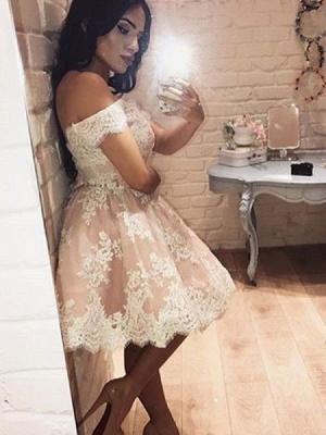 Pink Cocktail Dresses Short White Lace A Line Party Dresses Evening Dresses_2