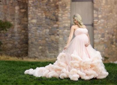 Günstige Brautkleider für Mollige Rosa Tüll Hochzeitskleid für Schwangere_2