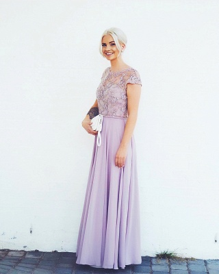 Elegante Abendkleider Lang Günstig | Chiffon Abendkleid Flieder | Lila Kleid_1