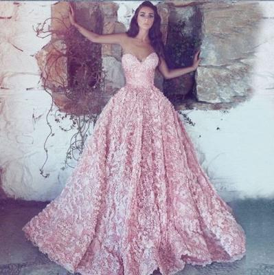 Luxus Abendkleider Lang Rosa | Spitze Abendmoden Online_3