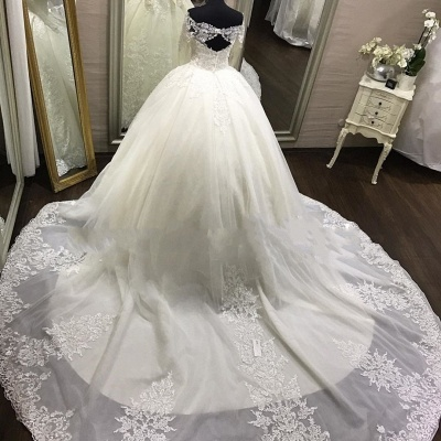 Elegante Off Shoulder Long Sleeve Lace Wedding Gowns_3