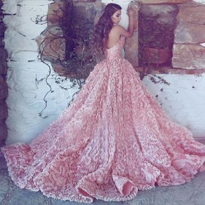 Luxus Abendkleider Lang Rosa | Spitze Abendmoden Online_2