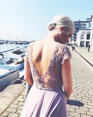 Elegante Abendkleider Lang Günstig | Chiffon Abendkleid Flieder | Lila Kleid_3