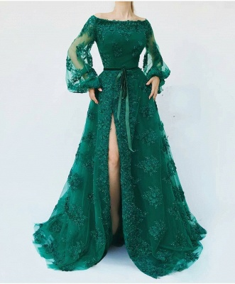 Cheap Evening Dresses Long With Sleeves | Evening dress green_1