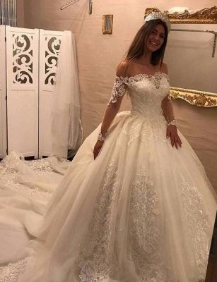 Elegante Off Shoulder Long Sleeve Lace Wedding Gowns_4
