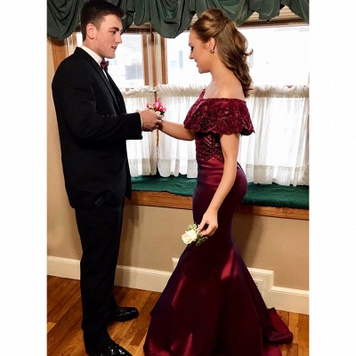 Elegant burgundy evening dresses long with lace 2-piece evening wear cheap_3