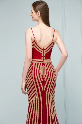 Luxury Red Evening Dresses Long Cheap Späghetti Straps Mermaid Evening Wear Prom Dresses Online_3