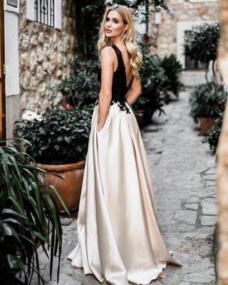 Günstige Abendkleider Lang Schwarz | Abiballkleider mit Spitze Online_2