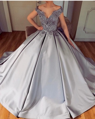 Silver Evening Dresses Long Cheap A Line Satin Prom Dresses Cheap Online_2