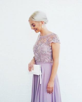 Elegante Abendkleider Lang Günstig | Chiffon Abendkleid Flieder | Lila Kleid_2