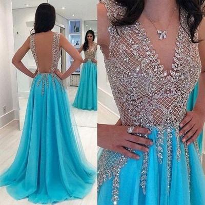 Elegante Abendkleider Blau | Chiffon Kleider Abiballkleider Online_2