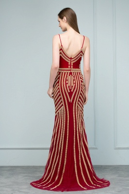 Luxury Red Evening Dresses Long Cheap Späghetti Straps Mermaid Evening Wear Prom Dresses Online_4