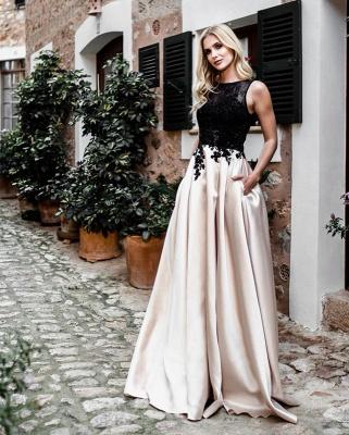 Günstige Abendkleider Lang Schwarz | Abiballkleider mit Spitze Online_1