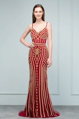 Luxury Red Evening Dresses Long Cheap Späghetti Straps Mermaid Evening Wear Prom Dresses Online_1