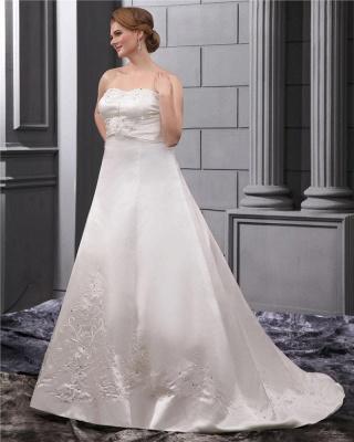 Weiß Brautkleider in Großen Größen Hochzeitskleider Übergrößen Billig_3