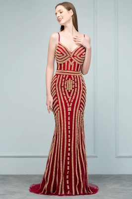 Luxury Red Evening Dresses Long Cheap Späghetti Straps Mermaid Evening Wear Prom Dresses Online_6
