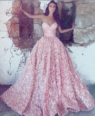 Luxus Abendkleider Lang Rosa | Spitze Abendmoden Online_1
