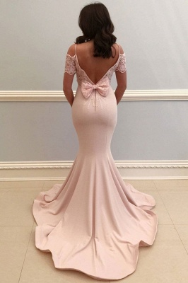 Elegante Rosa Abendkleider Lang Günstig Mit Spitze Ärmel Abiballkleider Günstig_2