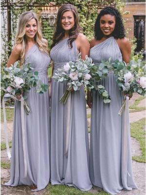 Silber Brautjungfernkleider Lang Günstig | Chiffon Kleider Brautjungfern_1