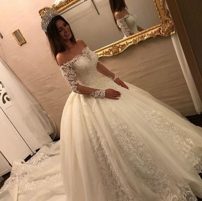Elegante Off Shoulder Long Sleeve Lace Wedding Gowns_2