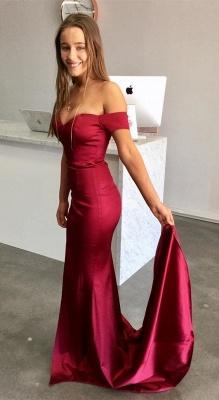Schlicht Rote Abendkleider Lang Günstig Satin Abiballkleider Ballkleider Online_1