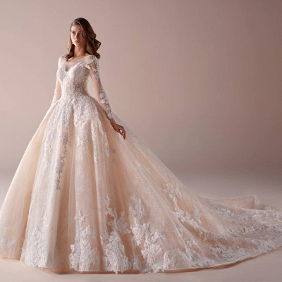 Fashion wedding dresses with sleeves a line wedding dresses cheap online_2