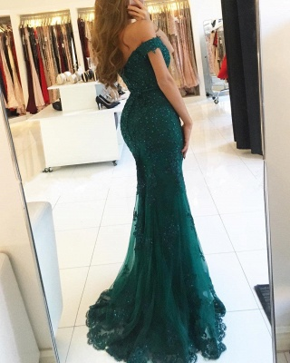 Red Evening Dresses Long Cheap Lace Off Shoulder Mermaid Evening Wear_4