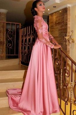 Fashion Abiballkleider Lang Rosa | Abendkleider mit Ärmel_2