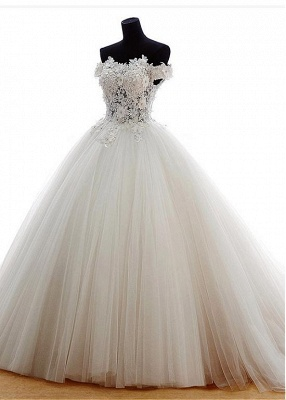 New Wedding Dresses Princess Tulle Floor Length Bridal Gowns With Lace_3