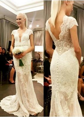 Fashion Brautkleider Weiß V Ausschnitt Meerjungfrau Rückenfrei Hochzeitskleider Brautmoden_2