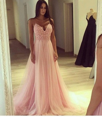 Pink Evening Dresses Lace Spaghetti Straps A Line Tulle Evening Wear Prom Dress_2