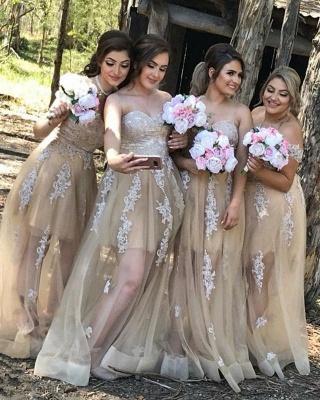 Designer Champagne Bridesmaid Dresses Long Lace Bridesmaid Dresses_1