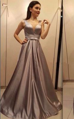 Schlicht Brau Abendkleider Lang Günstig V Ausschnitt Satin Abiballkleider Online_1