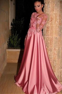 Fashion Abiballkleider Lang Rosa | Abendkleider mit Ärmel_1