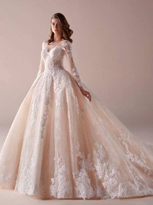Fashion wedding dresses with sleeves a line wedding dresses cheap online_1