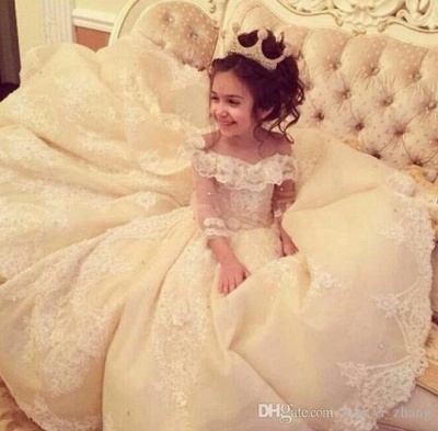 Günstige Blumenmädchenkleider Online Blumenkinder Kleider Hochzeit Mit Spitze_2