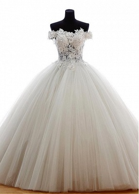 New Wedding Dresses Princess Tulle Floor Length Bridal Gowns With Lace_1