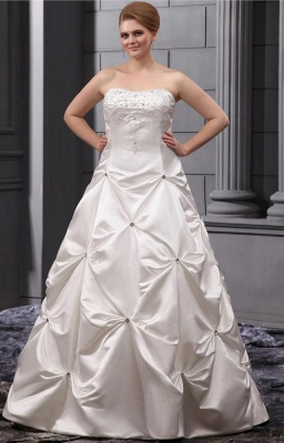 Plus Size Wedding Dresses White Beaded Princess Plus Size Wedding Dresses_1