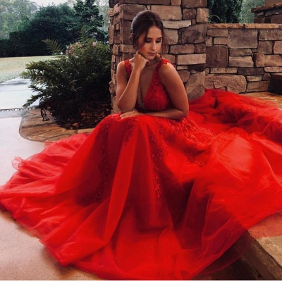 Modern evening dresses long red | Lace evening dress tulle_2