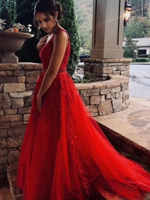 Modern evening dresses long red | Lace evening dress tulle_1