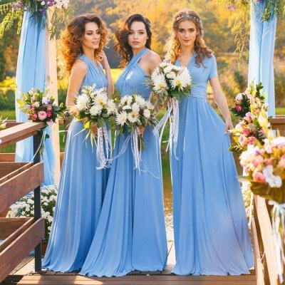 Blau Brautjungfernkleider Lang Günstig Chiffon Kleider für Brautjungfern_2