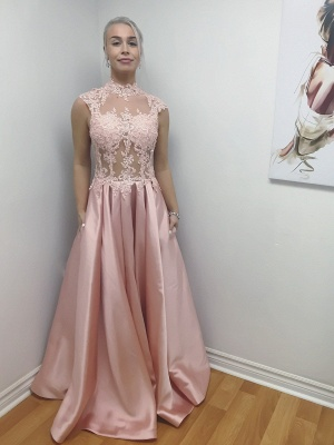 Elegant evening dresses long cheap pink with lace prom dresses online_1